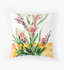 Red flowers in blue pot Throw Pillow
