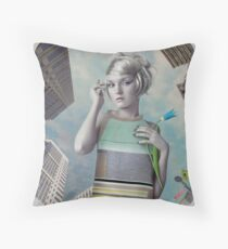 Girl in the big city Throw Pillow