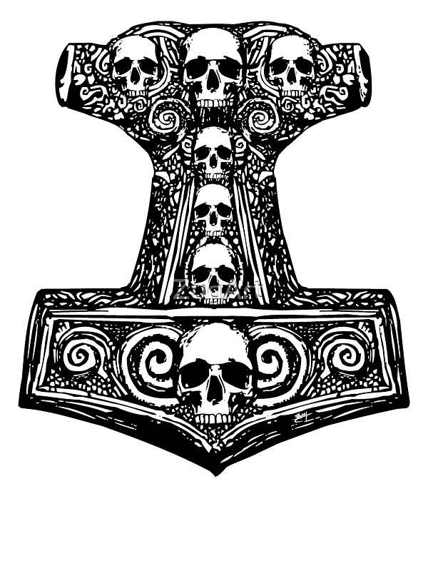 Quot Thors Hammer Black Quot Stickers By Zugart Redbubble