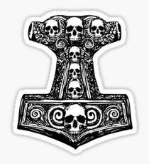 Thors Hammer Black Sticker