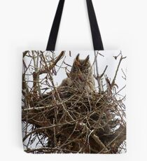Great Horned Owl Mom and fledgling Tote Bag