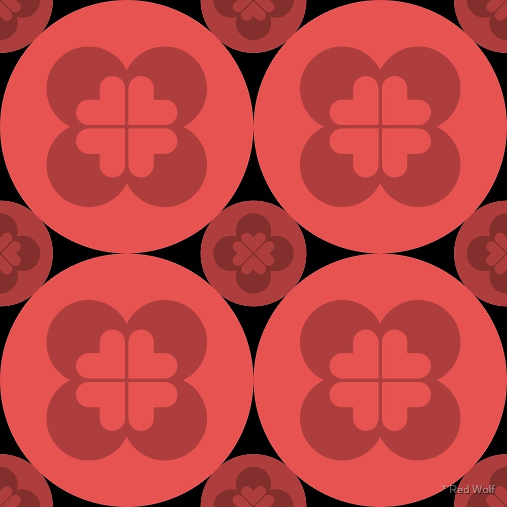 Geometric Pattern: Flower Circle: Red Dark by * Red Wolf