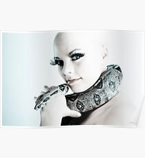 Portrait of girl with snake Poster