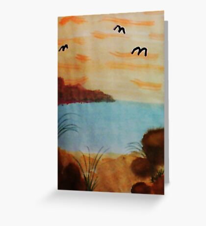 On the Beach with the Birds coming in, watercolor Greeting Card