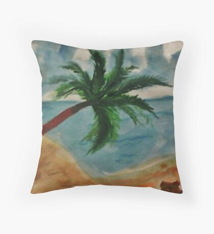 Tall Palm Tree hanging out, watercolor Throw Pillow