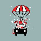 santa claus in red Parashoot car with gifts by hutofdesigns