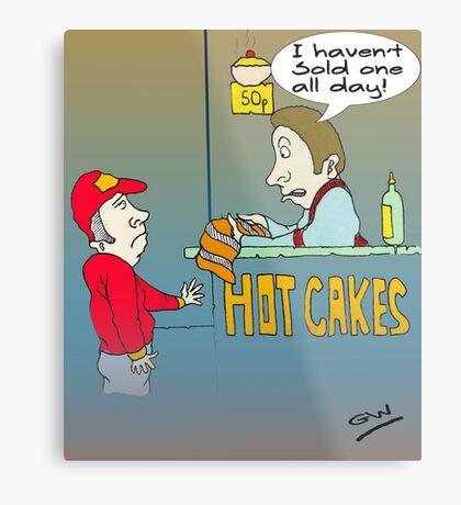 Funny Hot Cakes Seller Cartoon. Metal Print