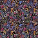 Jewel tone design in dark background by Gaia Marfurt