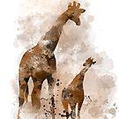Giraffe und Baby von Marlene Watson