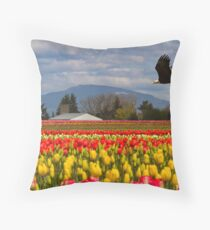 Bald Eagle crossing a Tulip Field Throw Pillow