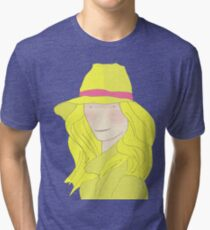 Girl In Hat With Purple Ribbon Tri-blend T-Shirt