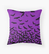 Purple Bats Throw Pillow
