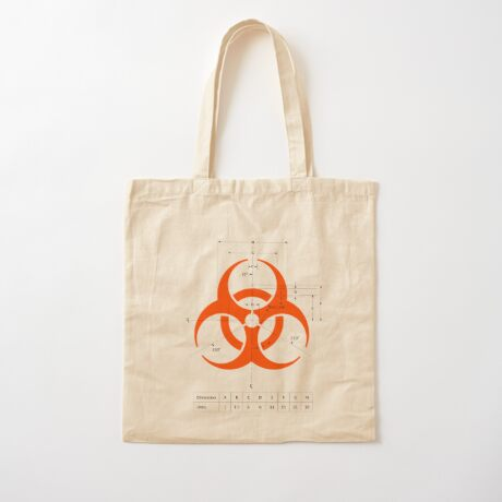 Biohazard warning sign with dimensions Cotton Tote Bag