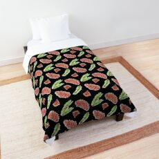 Woodland Pine Cones Pattern on Black Comforter