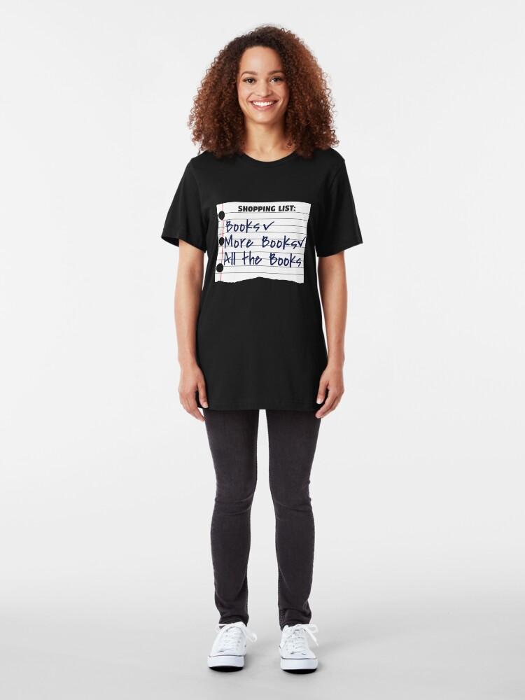 Alternative Ansicht von Shopping List Books More Book All The Books - Bookworm Slim Fit T-Shirt