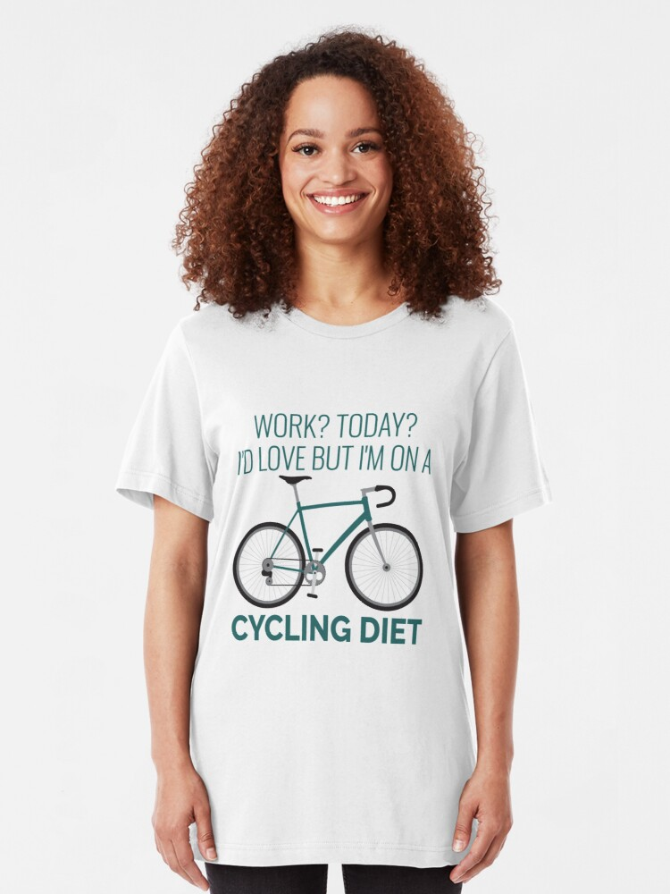 Alternative Ansicht von Work I'd Love But I'm On A Cycling Diet - Racing bike Slim Fit T-Shirt