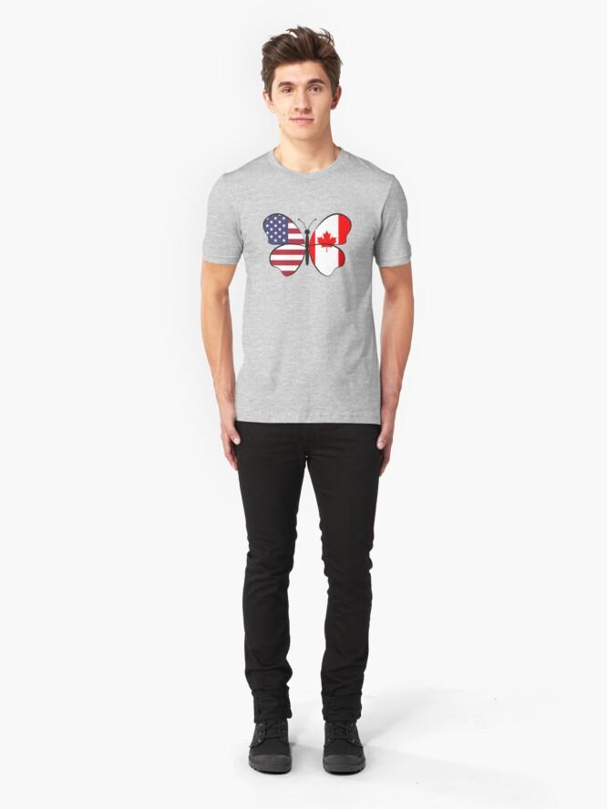 Alternative Ansicht von USA Canada Butterfly - Dual Citizenship Slim Fit T-Shirt