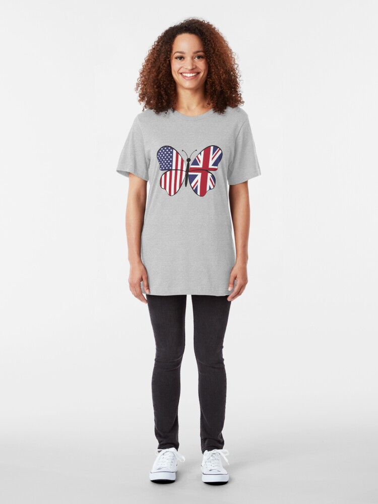 Alternative Ansicht von USA United Kingdom Butterfly - Dual Citizenship Slim Fit T-Shirt
