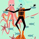 Scuba diving, fun diving design. by Kristina Evans