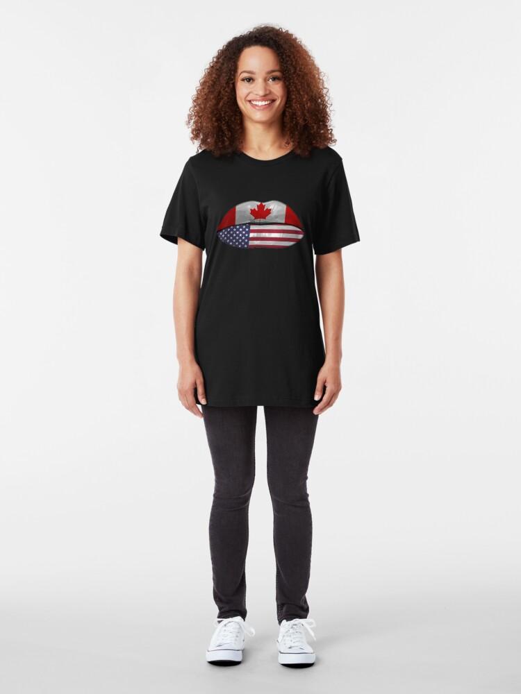 Alternative Ansicht von USA Canada Flag Lips - Dual Citizenship Slim Fit T-Shirt