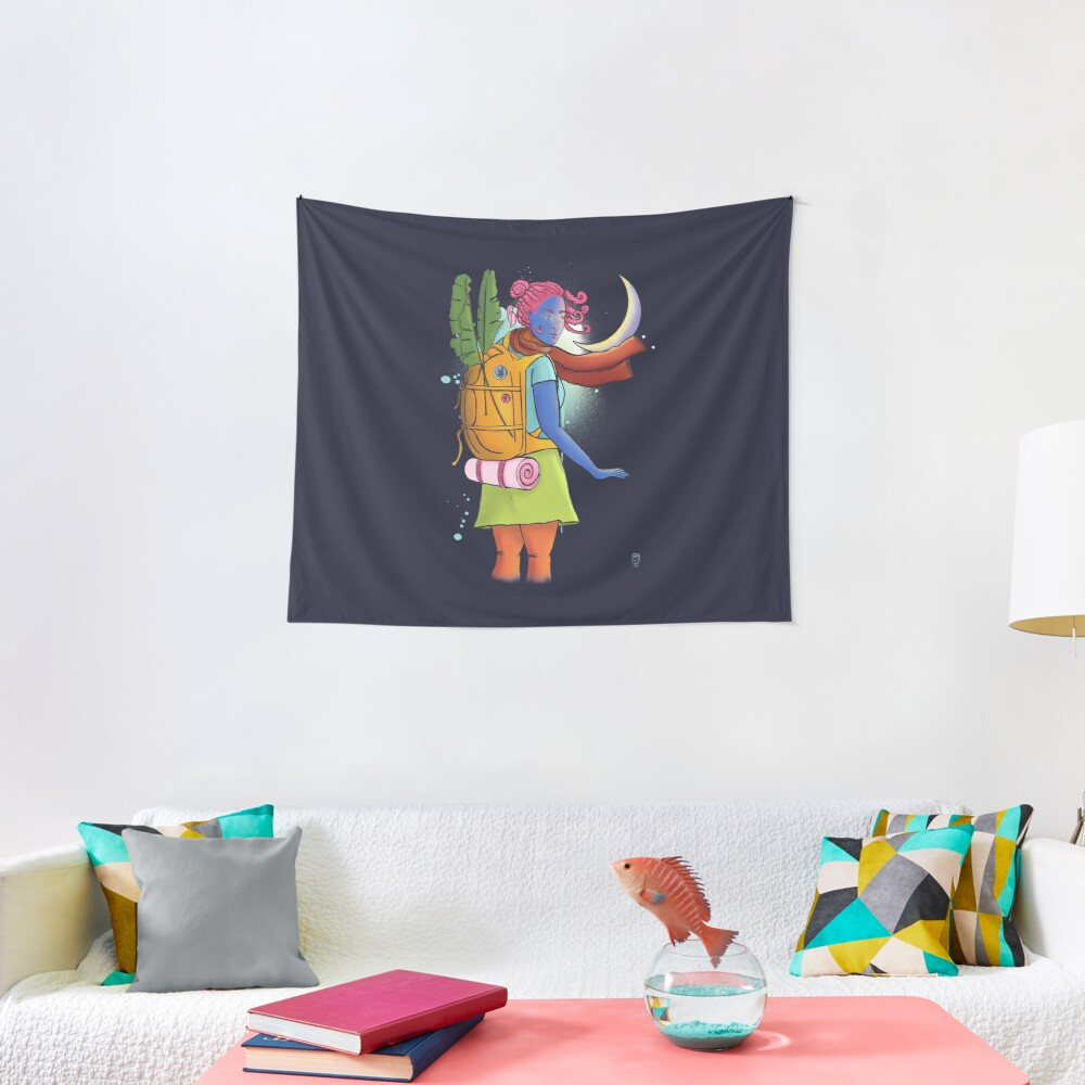 Don't come any closer - woman traveler illustration Tapestry