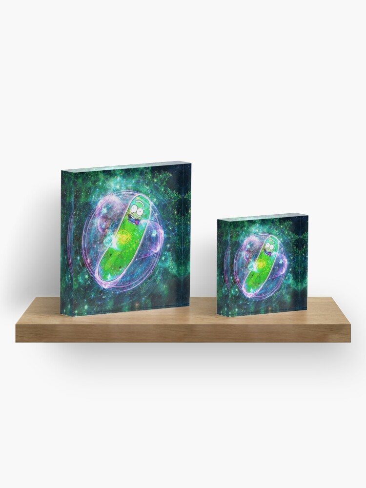 Alternate view of Pickle Rick in Space | Rick and Morty | Flower of Life Acrylic Block