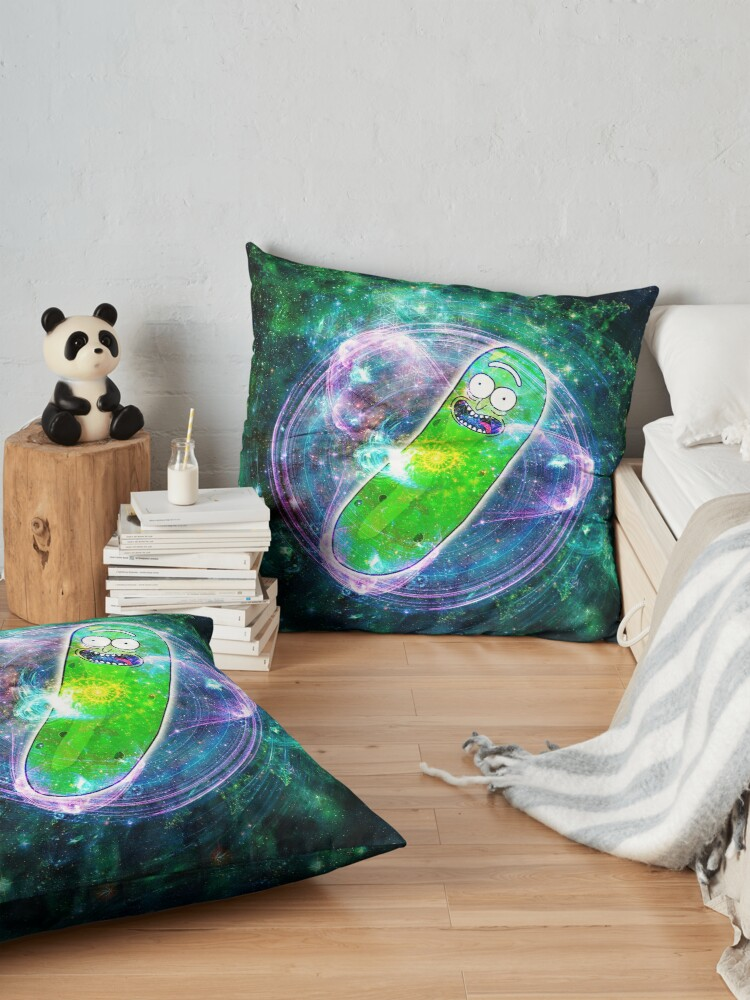 Alternate view of Pickle Rick in Space | Rick and Morty | Flower of Life Floor Pillow