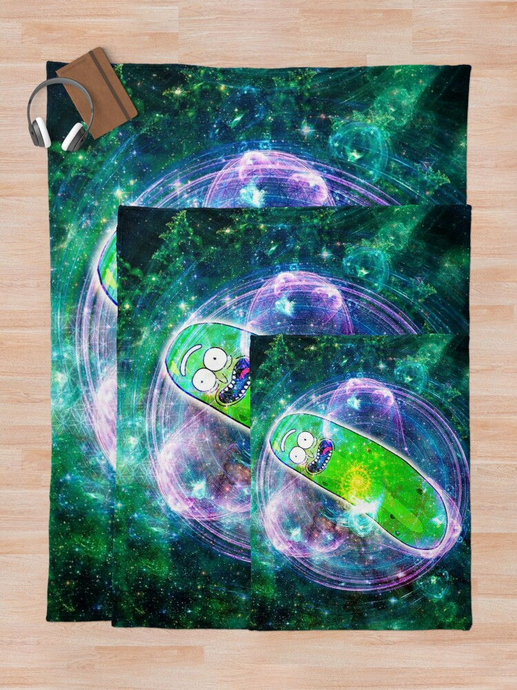 Alternate view of Pickle Rick in Space | Rick and Morty | Flower of Life Throw Blanket