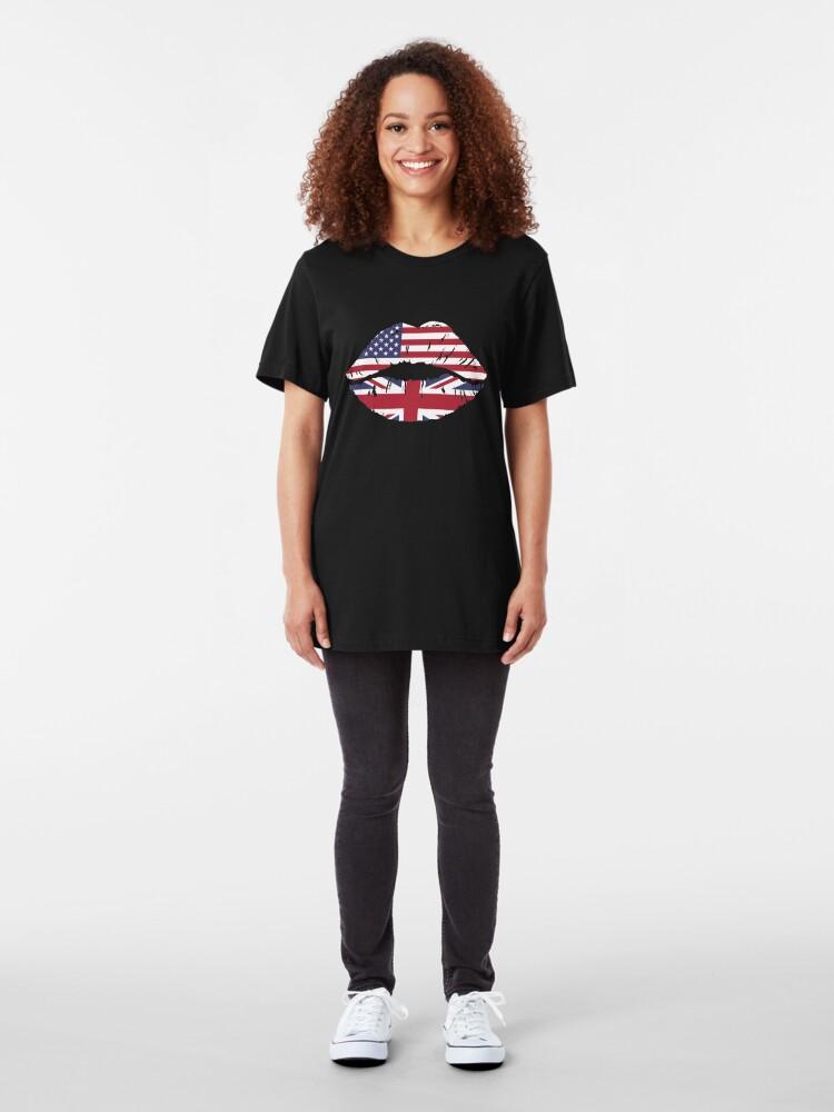 Alternative Ansicht von USA United Kingdom Kiss - Dual Citizenship Slim Fit T-Shirt