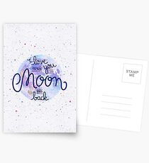 I love you to the moon and back 2 Postcards
