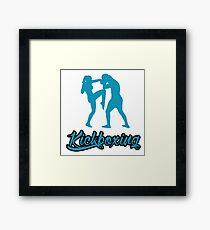 Kickboxing Female Knee Blue  Framed Print