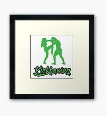 Kickboxing Female Knee Green  Framed Print