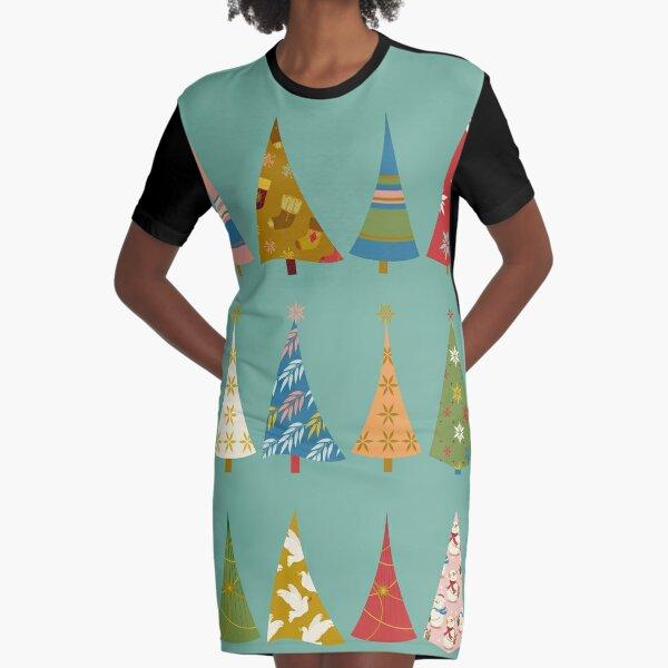 Christmas Trees Graphic T-Shirt Dress