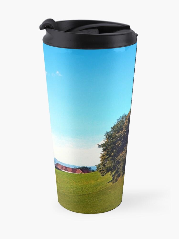 Alternate view of Trees, a hidden farm and fields of summer Travel Mug