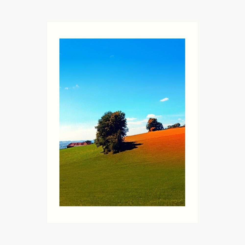 Trees, a hidden farm and fields of summer Art Print