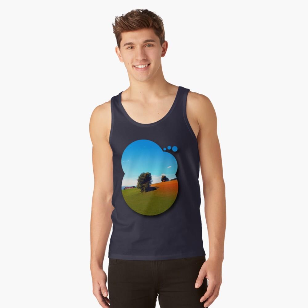 Trees, a hidden farm and fields of summer Tank Top