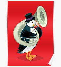 Puffin On A Tuba Poster