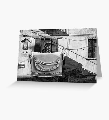 Italian wash day in black and white Greeting Card