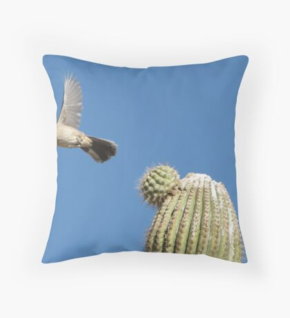 Curved-billed Thrasher ~ In Flight Throw Pillow