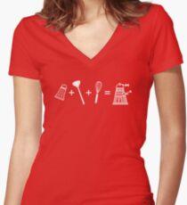 Shaker + Plunger + Whisk = EXTERMINATE! Women's Fitted V-Neck T-Shirt