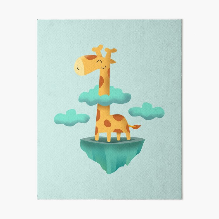 Giraffe in the sky Art Board Print