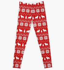 French Bulldog Silhouettes Christmas Holiday Pattern Leggings