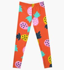 Ananas-Party - rote u. Rosafarbene Palette Leggings