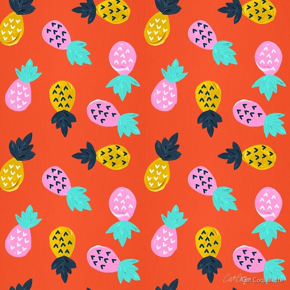 Ananas-Party - rote u. Rosafarbene Palette von Cat Coquillette