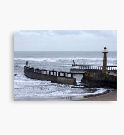 Entrance to Whitby Harbour Canvas Print
