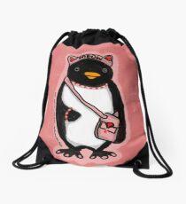Pink Kitty Penguin Drawstring Bag