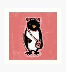Pink Kitty Penguin Art Print