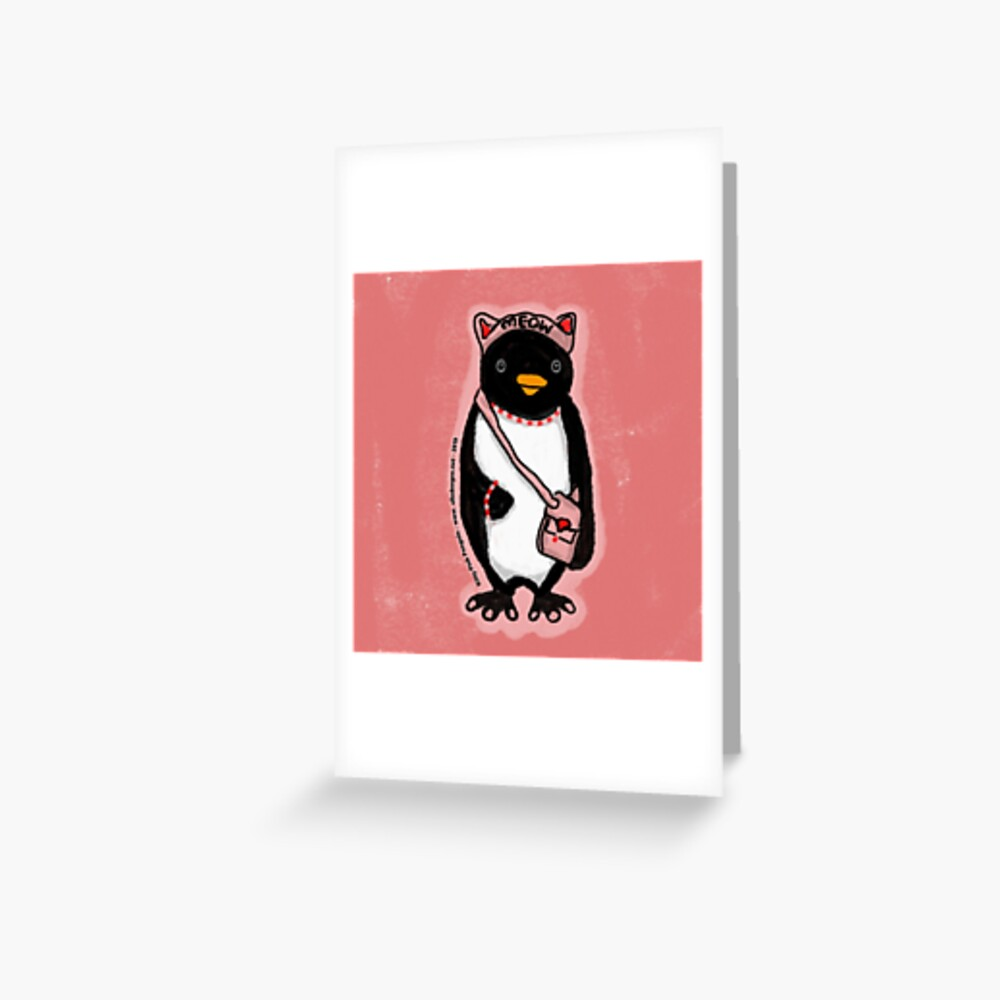 Pink Kitty Penguin Greeting Card