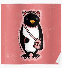 Pink Kitty Penguin Poster