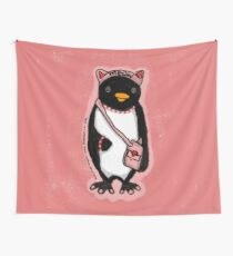 Pink Kitty Penguin Wall Tapestry